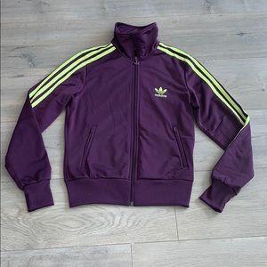 Adidas Purple Jacket w Fluorescent Yellow Stripe S